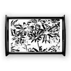 """Transparent flowers Coffee Tray)•Small - 14.5"""" x 10)"""