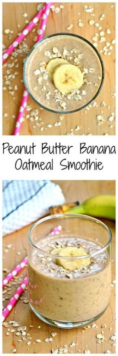 This Peanut Butter Banana Oatmeal Smoothie is quick and easy! It's a filling breakfast that can be thrown in the blender and then taken to go!