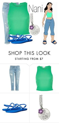 """""""Nani~ DisneyBound"""" by basic-disney ❤ liked on Polyvore featuring AG Adriano Goldschmied, River Island, Havaianas and Disney"""