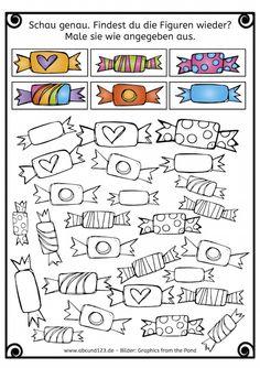 Wahrnehmung, Konzentration, Muster vervollständigen, Bonbons entsprechend der Vorlage anmalen, alle Fächer, alle Klassen