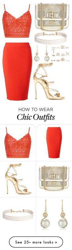 """""""Gold, White, and Orange"""" by tychehecateartemishera on Polyvore featuring Dsquared2, New Look, Miss Selfridge, Christian Louboutin, Effy Jewelry and Humble Chic"""