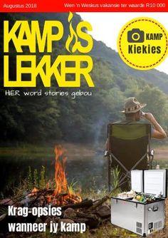 Kamp is Lekker Augustus 2018 Tydskrif: Kamp is Lekker is 'n gemaklike kamptydskrif met stories, woonwa wenke en resepte van kampeerders in Suid Afrika Places To Visit, Comic Books, Van, Comics, Words, Cover, Cartoons, Cartoons, Vans