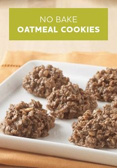 This quick and easy oven-less No Bake Oatmeal Cookies recipe is delicious. Plus, they're just 100 calories each!
