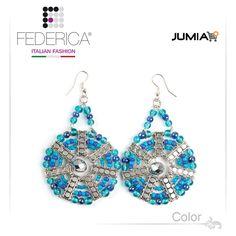 Earrings MAYA 1  Pendant earrings with glass bead disc. Blue. 3,200.00 Ksh http://www.federicafashion.com/ep61/earrings-maya-1/ http://www.jumia.co.ke/federica-fashion/
