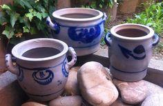 2 x Steinzeug Steingut Keramik  Töpfe Topf mit Henkel Salzglasur WESTERWALD
