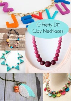 Clay Crafts 10 Pretty Necklaces to Make Clay Jewelry, Jewelry Crafts, Beaded Jewelry, Handmade Jewelry, Braided Necklace, Diy Necklace, Diy Clay, Clay Crafts, Homemade Necklaces