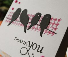 handmade bird card, birds on a wire card, houndstooth card, make my monday challenge, young crafters unite challenge, autumn rose ink, papertrey ink thank you stamp, silhouette cameo die cut