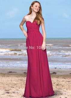 >> Click to Buy << Latest Design Fushcia Bridesmaid Dress Long 2015 Sweetheart Elegant Long Dress For Party A Line Chiffon Vestido De Festa MB598 #Affiliate