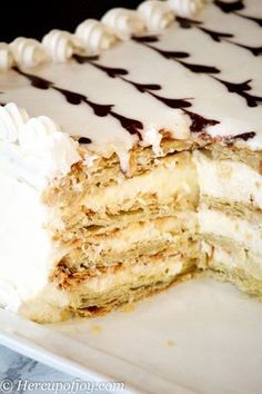 Faux Napoleon Cake (Mille-feuille) - Her Cup of Joy - - This Faux Napoleon Cake (Mille-feuille) is a spin on the popular European version. The cake has a smooth, creamy filling and crispy puff pastry layers. Napoleon Pastry, Napoleon Dessert, Napoleon Cake, Gallette Recipe, Napoleons Recipe, Puff Pastry Dough, Puff Pastry Recipes, Food Cakes, Cupcake Cakes