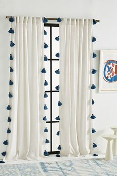 Mind Blowing Tips: Kids Curtains Fabric double curtains linen.Curtains Fabric Greek Key curtains rods uses. Boho Curtains, Rustic Curtains, Curtains Living, Colorful Curtains, Bedroom Curtains, Pom Pom Curtains, Curtains With Tassels, Curtains Behind Bed, Kids Room Curtains