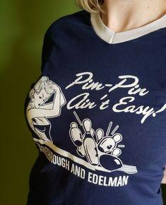 fd4119ea8497 Sexy vintage style bowling blue & White Ringer V Neck Baseball Umpire T  Shirt #
