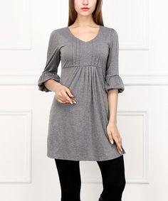 Reborn Collection Gray Bell-Sleeve Empire-Waist Dress | zulily