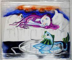 Sonho de uma menina, canetas aguareláveis sobre papel, trabalho com moldura de madeira branca (32,5 X 28,4 cm) - 35 euros + portes de envio.