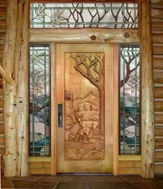 #wood carved doors and frame #rustic country cabin style