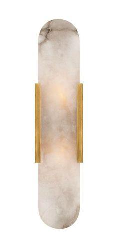 KELLY WEARSTLER | MELANGE ELONGATED SCONCE. Alabaster stone set in Antique Burnished Brass or Aged Iron