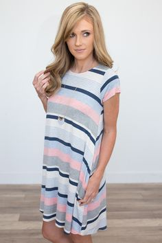 Striped Pocket T-Shirt Dress - Heather Grey/Blue/Pink