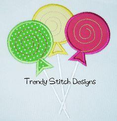 Sweet Shoppe Lollipop Trio Applique Design by trendystitchdesigns