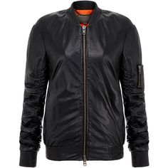 Isonta Black Leather Bomber Jacket Features a chunky exposed zip with a double ended puller, two in-seam pockets and a zip patch pocket on the left sleeve 100%…