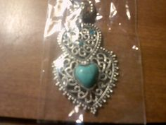 **Turquoise Tibet Silver Double Heart Necklace**