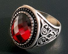 925 STERLING SILVER MEN'S RING WITH TOTALLY HANDMADE UNIQUE PRECIOUS REAL RUBY #Handmade