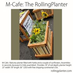 "M-CAFE ( 4 Sizes ) COMMERCIAL QUALITY ""ROLLING PLANTER.""  Stable and able to move over heavy door jambs.  Designed for small intimate locations. Grow almost everything in this planter, best for plants that need deep roots, including trees. Fully assembled.  Made from sustainably grown cedar/fir, case hardened and marine epoxy/ glass coated steel screws/ bolts, tri-ply liner and plumbed drains. Designed, handmade and shipped from Ventura, California, USA 805.643.5902  www.rollingplanter.com Raised Planter Beds, Raised Beds, Outdoor Projects, Diy Projects, M Cafe, Balcony Planters, Growing Lettuce, Bottle Cap Crafts, Self Watering"