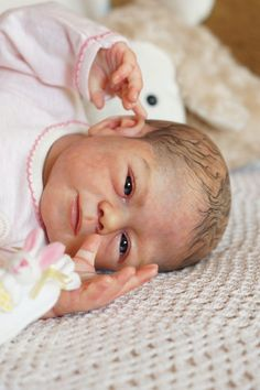 Beautiful reborn baby girl - from kit Francine by Joanna Kazmierczak #JoannaKazmierczak