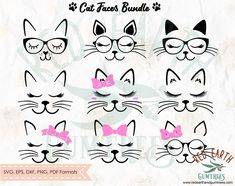 Cat faces bundle with whiskers eyelashes lashes SVG PNG John Stewart, Cat Silhouette, Silhouette Studio, Stencil Templates, Stencils, Cat Template, Cat Clipart, Cat Face, Design Bundles