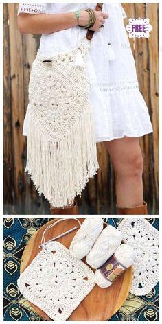 Crochet boho crossbody bag free patterns bag boho crochet crossbody free patterns now bohemian dress is quite popular in modern usage the term quot; Crochet Handbags, Crochet Purses, Crochet Bags, Boho Crochet Patterns, Crochet Ideas, Macrame Patterns, Knitting Patterns, Dress Patterns, Boho Crossbody Bag