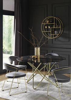 Esstisch rund mit Keramik in Schwarz bestellen Dining Chairs, Dining Room, House Design, Kitchen, Diy, Inspiration, Furniture, Home Decor, Marie