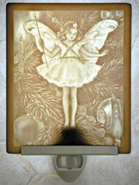 Cicely Mary Barker Christmas Tree Fairy Porcelain Lithophane Night Light -- Retired