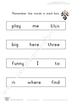 """In the """"Missing Word Sequential Memory"""" worksheets, the student must remember all the words on the first page so that they can identify the word that is missing on the second page from memory. Learning For Life, Visual Learning, Word 3, Three Words, First Page, Sight Words, Worksheets, Student, Memories"""