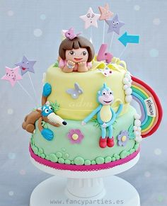 Amazing Dora the Explorer Cake! by www.fancyparties.es #dora #doracake #bootscake #swippercake #doratheexplorer by clairemummaclaire