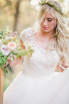 Beaded Lace Wedding Dress | Megan Robinson Photography and Leslie Dawn Events | Blush and Rose Gold Woodland Wedding Shoot