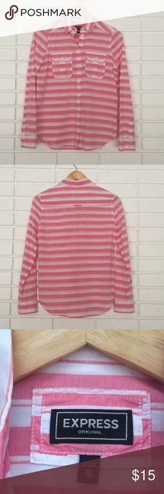 Express Original Casual Pink & White Botton Down Express Original Casual Pink & White Botton Down! Size XS. Excellent condition! Great spring wardrobe staple! Express Tops Button Down Shirts