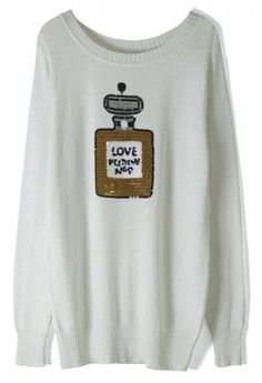 Sequins Perfume White Sweater