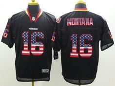 18e5d095f ... San Francisco 49ers 16 Joe Montana 2014 USA Flag Fashion Black Elite… Joe  Staley San Francisco 49ers Game-Used 74 Red Jersey vs Carolina Panthers on  ...