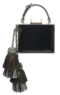 Jewel Box named Tiger Tail. Black lacquered calfskin w/ stripe printed viper snake gussets Ivory lucit /gold square closure, and multicolor double layer hand made tassel. SS 2014