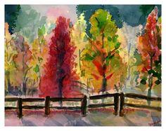 Beautiful Fall trees by DaVinci Watercolours.