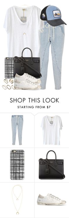 """""""Sin título #4119"""" by hellomissapple ❤ liked on Polyvore featuring Bassike, American Vintage, Yosemite by James Perse, Casetify, Yves Saint Laurent, Golden Goose and ASOS"""
