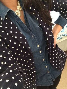 Finally, I have something to pair with my navy polka dotted blazer!
