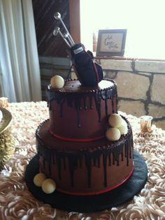 Creme de la Creme Cake Company Grooms Cake Round Chocolate Drizzle Golf Bag Chocolate Golf Balls