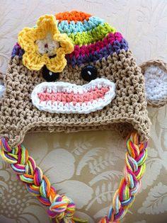 Multicolor crochet sock monkey hat Crochet Baby, Knit Crochet, Crochet Sock Monkeys, Sock Monkey Hat, Yarn Projects, Crochet Clothes, Bonnets, Crafty, Wool