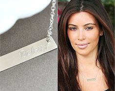 Sterling Silver Bar Necklace, Personalized Bar Necklace, Sterling Silver Initial Bar Necklace, Handstamped Jewelry by malizbijoux. Explore more products on http://malizbijoux.etsy.com