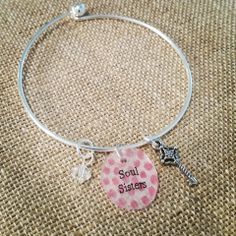 Best Friend Bangle Bracelets Soul Sisters - Hand Painted