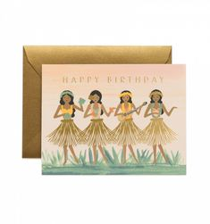 Hula Birthday Available as a Single Folded Card or Boxed Set of 8