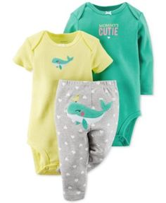 Carter's Baby Girls' 3-Piece Bodysuit & Whale Pants Set  | macys.com
