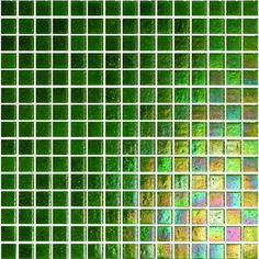 Vibrant green Lucania mosaics have an iridescent finish and are made from recycled glass.