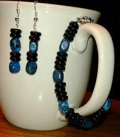 $14 natural blue stone & Czech beads earrings & bracelet