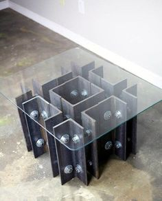 Steel Beam Man Cave Furniture Glass Table