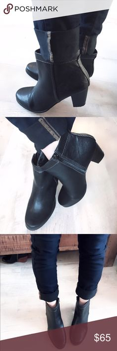 St. John's Bay ankle boots The JACKIE boot! So cute! So comfortable! Wear with cuffed jeans and a sweater! Size 8.5 worn only a couple times! Sticker still on the bottom $90. Tiny wear mark on the top inside of right boot seen in 5th photo, Minimal bottom heel wear, insoles are clean kept nice, the boot itself in really nice condition with detailed stitching! Round toe, side zipper, 3' heel. Faux leather. Offers welcome ❤️no trades thank you St Johns Bay Shoes Ankle Boots & Booties